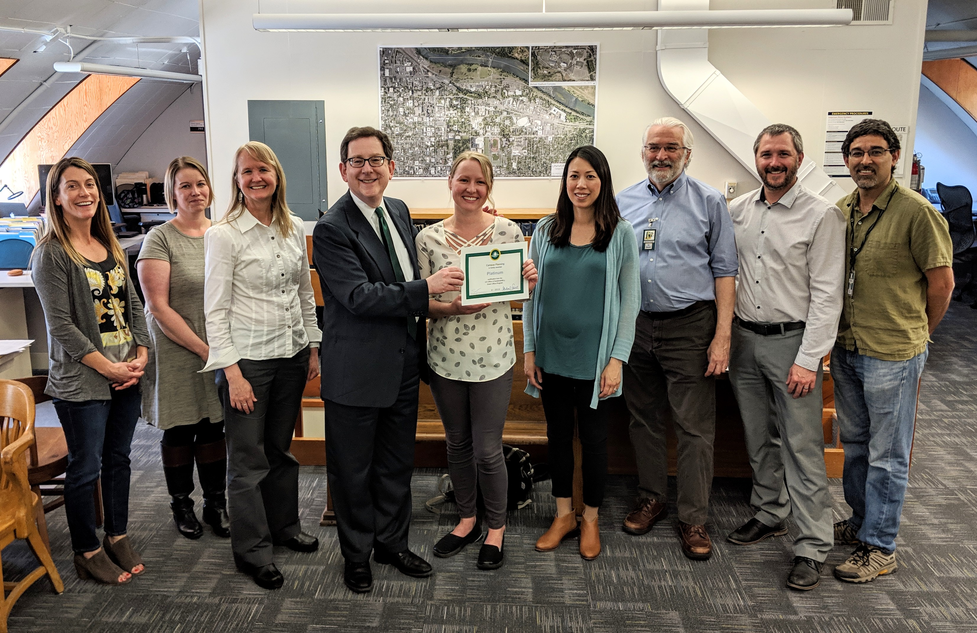 Campus planning staff receiving the 2019 Green Office Certification