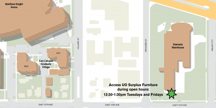 Map showing surplus access point on south side of Romania Warehouse, off 15th Avenue and Orchard Street in Eugene, Oregon