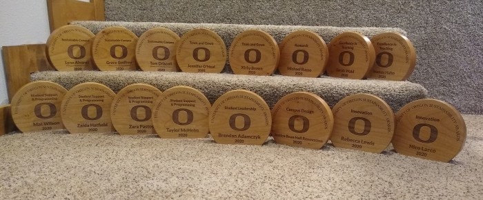Etched wooden awards for 2020 winners