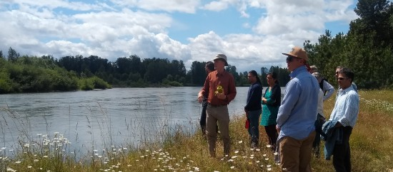 Faculty onsite at Green Island with McKenzie River Trust