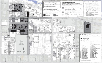 University of Oregon Designated and Potential Historic Resources Map