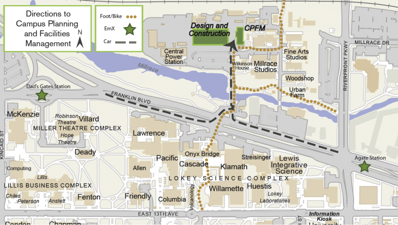 Map showing access route to Campus Planning and Facilities Management
