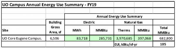 UO Annual Energy Use Summary FY19 Table
