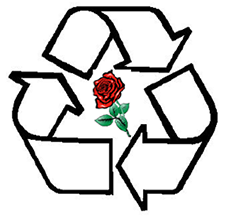 Recycle symbol with a rose in the middle