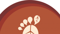 Cartoon footprint in a circle with leaf patterns on the ball and big toe of the foot.