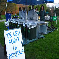 Students ready to assist others in a waste audit