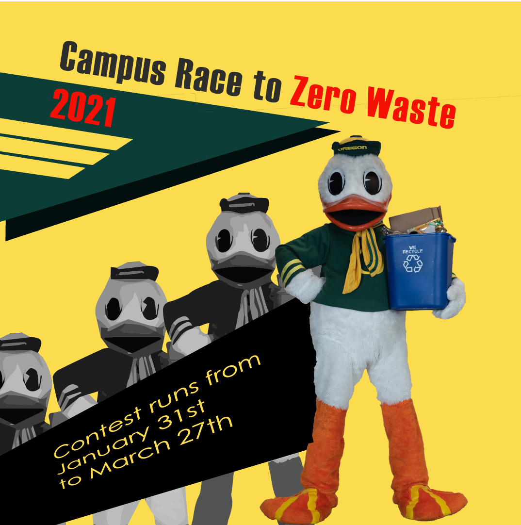 The UO Duck rendered as a recycling superhero with a can of recycling tucked under its arm.